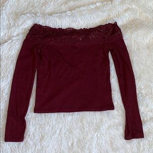 Maroon off the shoulder shirt with cute lace up